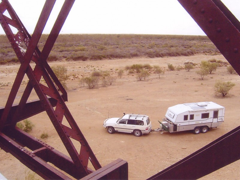 Bushtracker at Algebuckina Bridge (old Ghan railway on Oodnadatta track)